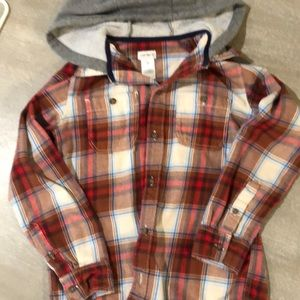 Boys flannel button down with hood